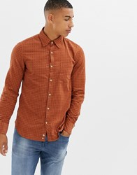 United Colors Of Benetton Slim Fit Cord Shirt With Check Print In Brown