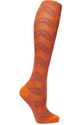 Missoni Metallic Crochet Knit Socks Orange