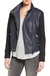 Bernardo Women's Knit Sleeve Faux Leather Moto Jacket Dark Indigo Black