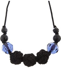 Armani Collezioni Glass Bead Rope Necklace Blue Multi