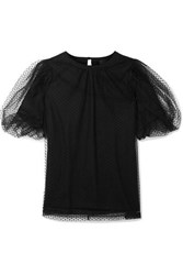 Marc Jacobs Evening Layered Swiss Dot Tulle And Cotton Jersey Top Black