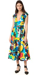 Stella Jean Cap Sleeve Flared Dress Multi Color