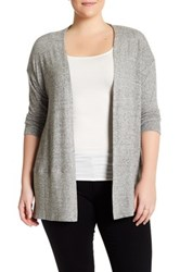 Hip Long Sleeve Open Front Cardigan Plus Size Gray