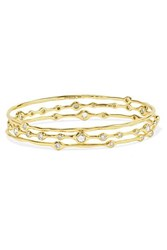 Ippolita Stardust Superstar Set Of Three 18 Karat Gold Diamond Bangles One Size