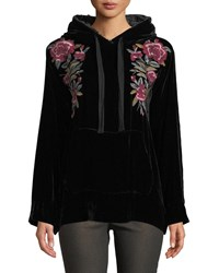 Johnny Was Marmont Floral Embroidered Velvet Hoodie Black