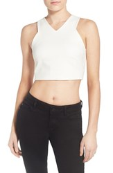 Women's Kendall Kylie Stretch Knit Crop Top White