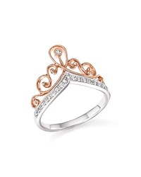Bloomingdale's Diamond Crown Ring In 14K White And Rose Gold .15 Ct. T.W. White Rose