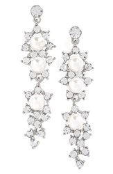 Tasha Women's Crystal And Faux Pearl Drop Earrings Pearl Silver