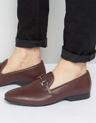 Frank Wright Bar Loafers In Bordo Leather Red
