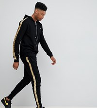 Sixth June Skinny Joggers In Black With Gold Side Stripe Exclusive To Asos