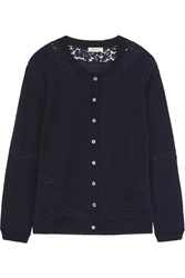 Nina Ricci Lace Paneled Wool Cardigan Blue