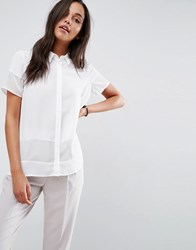 Asos Short Sleeve Blouse In Sheer And Solid Ivory White