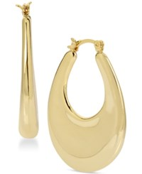 Touch Of Silver Gold Plated Oval Puff Hoop Earrings