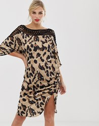 Liquorish Shift Dress In Satin Leopard Print With Lace Cutout Detail And Ruched Side Multi