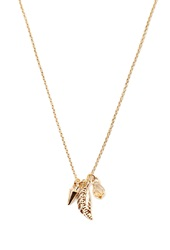 Forever 21 Feather Charm Necklace Gold