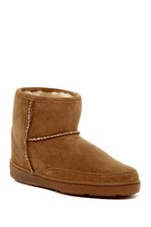 Minnetonka Genuine Sheepskin Ankle High Pug Boot Women Brown