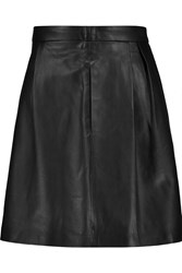 Michael Michael Kors Pleated Leather Mini Skirt Black
