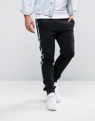 Asos Skinny Jogger With Coloured Woven Tape Black