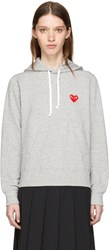 Comme Des Garcons Play Grey Heart Patch Hoodie