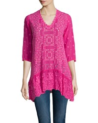 Johnny Was Taffy 3 4 Sleeve Georgette Tunic Women's Ultra Pink