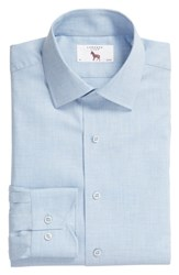Lorenzo Uomo Trim Fit Solid Dress Shirt Blue