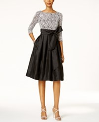 Jessica Howard Sequined Lace Taffeta Fit And Flare Dress Black Silver