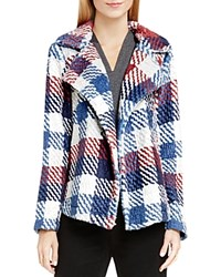 Vince Camuto Two By Plaid Faux Fur Notch Collar Coat Malbec Red