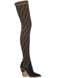 Fendi 100Mm Ff Knit And Leather Thigh Boots Black Beige