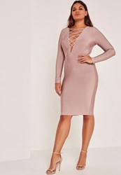 Missguided Purple Plus Size Lace Up Bandage Midi Dress Mauve