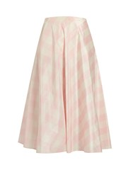 Valentino Checked Silk Taffeta A Line Midi Skirt Pink Multi