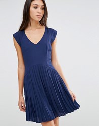 Traffic People Blousie Dress With Pleated Skirt Navy
