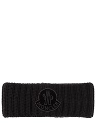 Moncler Wool Rib Knit Headband W Velvet Patch Black