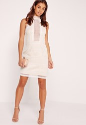 Missguided Premium Structured Lace High Neck Bodycon Dress White White