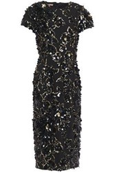 Michael Kors Collection Woman Embellished Wool Blend Crepe Midi Dress Black