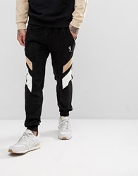 Religion Tapered Fit Jogger In Suedette With Contrast Panels Black