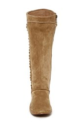 Ugg R Australia 'Mammoth' Water Resistant Knee High Fringe Genuine Shearling Boot Women Beige