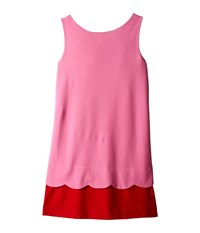 Kate Spade Bow Back Scallop Dress Big Kids Carousel Pink Posey Red Women's Dress