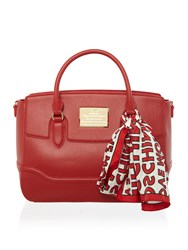 Love Moschino Plaque Satchel Bag Red