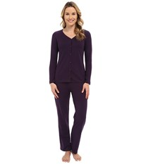Jockey Two Piece Cotton Cardigan Pj Set Eggplant Women's Pajama Sets Purple
