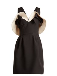 Valentino Bow Detailed Wool And Silk Blend Dress Black White