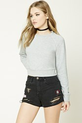 Forever 21 Distressed Denim Patch Shorts Black