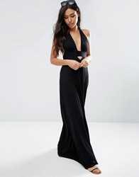 Asos Jersey Halter Maxi Beach Dress Black