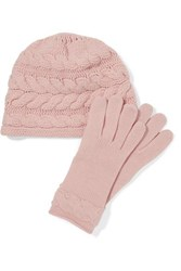Portolano Cable Knit Cashmere Beanie And Gloves Set Blush