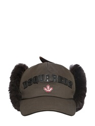 Dsquared Mongolia Fur And Cotton Canvas Hat Military Green