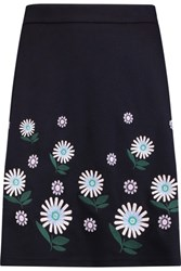 Markus Lupfer Ditsy Daisy Floral Embroidered Jersey Skirt Navy