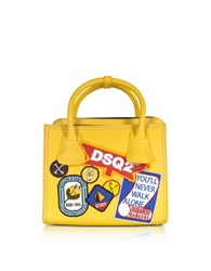 Dsquared2 Handbags Deana Small Yellow Leather Satchel W Patches