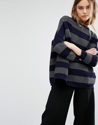 Paisie Oversized Ribbed Jumper In Stripes Multi
