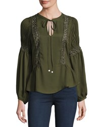 Free Generation Self Tie Lace Trim Peasant Blouse Olive