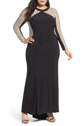 Xscape Evenings Plus Size Women's Beaded Illusion Jersey Mermaid Gown
