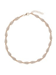 Mikey Small Oval Crystal Bead Necklace Rose Gold